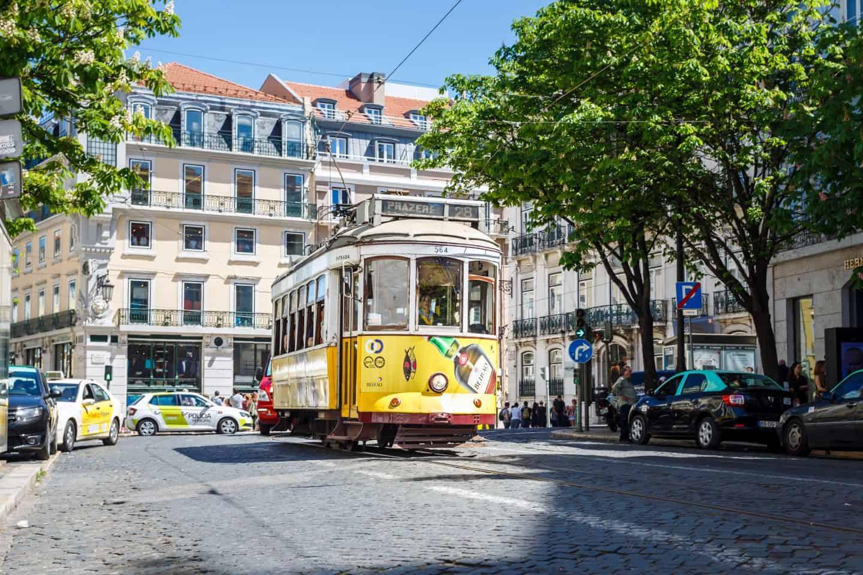 Lisbon travel yellow tram